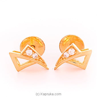 Kapruka Online Shopping Product 22k gold  ear stud set with 4(c/Z) rounds