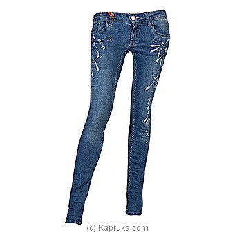 LICC Ladie`s Mid Blue Skinny Fit Floral Design Jeans at Kapruka Online for specialGifts