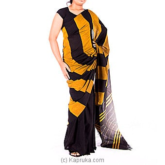 Black And Yellow Handloom Cotton Saree Online at Kapruka | Product# clothing0396