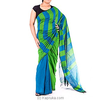 Green And Blue Color Handloom Saree Online at Kapruka | Product# clothing0400