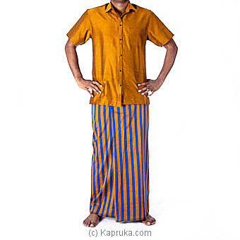 Mustered And Blue Stripes Handloom Sarong With Shirt Medium Online at Kapruka | Product# clothing0414_TC1