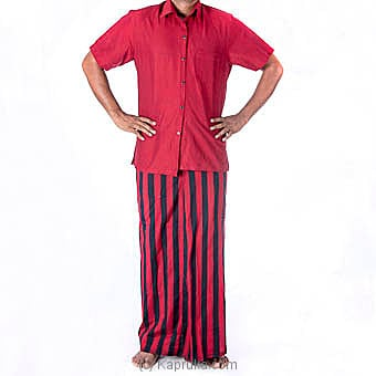 Red With Black Stripes Handloom Sarong With Shirt Medium Online at Kapruka | Product# clothing0415_TC1