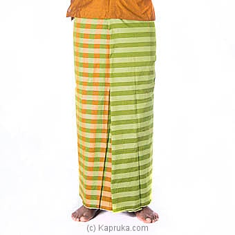 Green and mustard color check with stripes Handloom Sarongat Kapruka Online forspecialGifts
