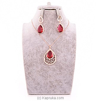 Red Crystal Jewelry Set Online at Kapruka | Product# jewllery00SK552