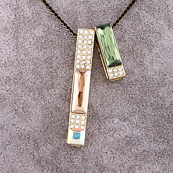 Black Necklace With Green And Gold Pendant Online at Kapruka | Product# jewllery00SK542