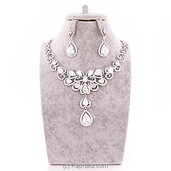 White Crystal Jewelry Set ( Necklace And Earrings Set) at Kapruka Online for specialGifts