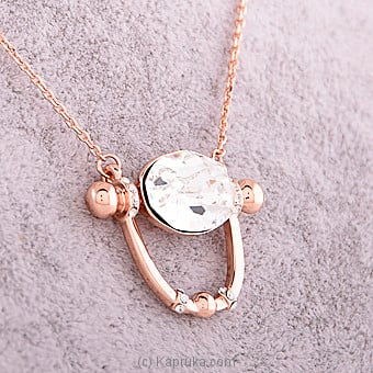 Crystal Pendant With Rose Gold Necklace Online at Kapruka | Product# jewllery00SK546