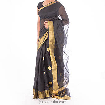 Black Cotton Saree With Blouse Piece Online at Kapruka | Product# clothing0434