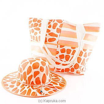 Summer Time Orange Bag With Hat Online at Kapruka | Product# fashion00704