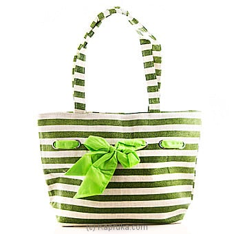 Kapruka Online Shopping Product Summer Time Green Stripe Bag