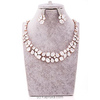 White Crystal Stone Jewelry Set Online at Kapruka | Product# jewllery00SK585