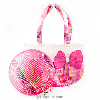 Summer Time Pink Bow Bag With Hat Online at Kapruka | Product# fashion00706