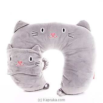 Travel Plush Neck Pillow With Eye Mask at Kapruka Online