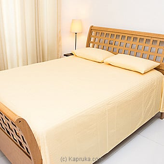 Kapruka Online Shopping Product Cotton Bed Sheet- Yellow- Queen Size