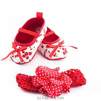 Red Heart Infant Pair Of Shoes With Hairband at Kapruka Online for specialGifts