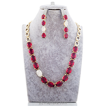 Red Stone Crystal Jewelry Set Online at Kapruka | Product# jewllery00SK609