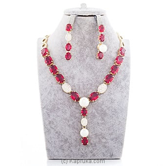 Red Stone Crystal Jewelry Set Online at Kapruka | Product# jewllery00SK597