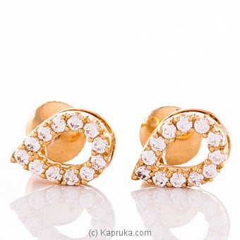 Vogue 22k gold ear stud set with 24 (c/Z) rounds Online at Kapruka | Product# vouge00346