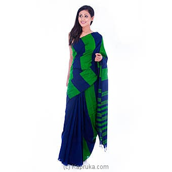 Green Saree With Blue Stripes Online at Kapruka | Product# clothing0542