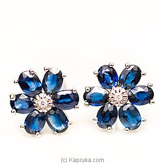 18kt W/Gold E`stud Set With Blue Sapphire & Diamonds-E888/3at Kapruka Online forspecialGifts