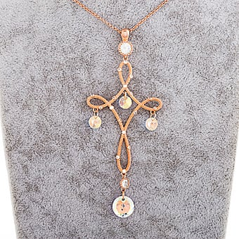 Crystal Pendant With Rose Gold Necklace Online at Kapruka | Product# jewllery00SK646