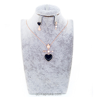Stones Rose Gold Jewelry Set ( Necklace And Earrings Set) Online at Kapruka | Product# jewllery00SK642