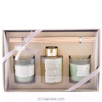 Sense Of White Rose Jasmine Fragrance Candle Gift Set Online at Kapruka | Product# household00343