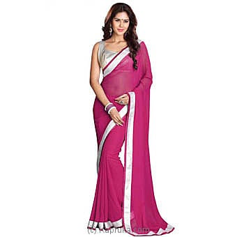 Solid Fashion Georgette Saree (pink) Online at Kapruka | Product# clothing0561