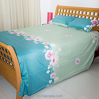 Light Green & Bluish Green Floral Design Cotton Bed Sheet Single Online at Kapruka | Product# household00341_TC1