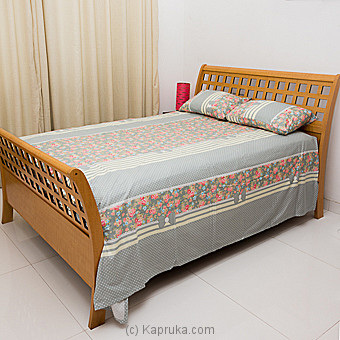 Ash Clolor Cotton Bed Sheet With Floral Design Single Online at Kapruka | Product# household00337_TC1