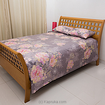 Ash Clolor Bed Sheet With Pink Roses Single Online at Kapruka | Product# household00338_TC1