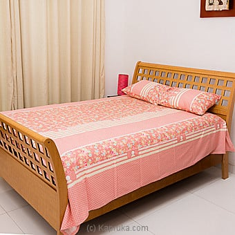 Light Pink Stripes And Floral Design Cotton Bed Sheet Single Online at Kapruka | Product# household00339_TC1