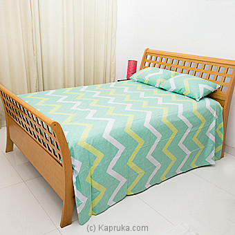 Light Green Cotton Bed Sheet With Zig Zag Design Single Online at Kapruka | Product# household00340_TC1