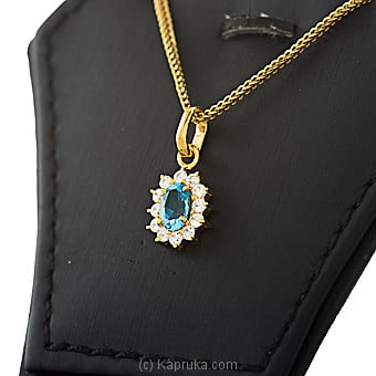 22kt gold pendant with blue topaz & cubic zirconia (p580/5) Online at Kapruka | Product# jewelleryMH0235