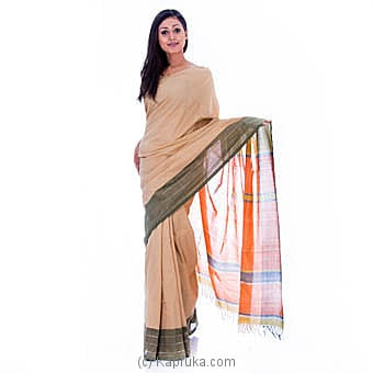 Homins Handloom orange And Cream Color Saree Online at Kapruka | Product# clothing0575