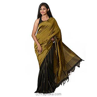 Black & Mustard Handloom Cotton Saree Online at Kapruka | Product# clothing0577
