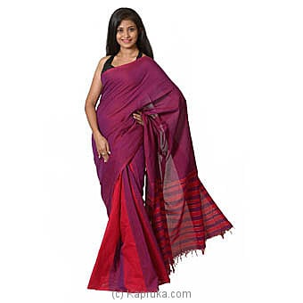 Pink And Purple Handloom Cotton Saree Online at Kapruka | Product# clothing0580