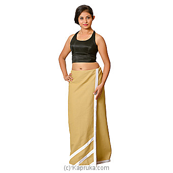Linen Lungi In Beige Color With Lace Small Online at Kapruka | Product# clothing0581_TC1