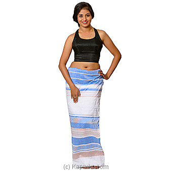 Blue,white And Beige Handloom Lungi Online at Kapruka | Product# clothing0583