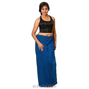 Peacock Blue And Black Strips Lungi With Blouse Materiel Online at Kapruka | Product# clothing0591