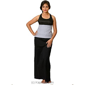 Linen Black Lungi With White And Black Stripe Blouse Materiel - XL Online at Kapruka | Product# clothing0589