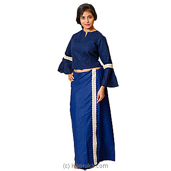 Linen Navy Blue Lace Lungi With Blouse Materiel Online at Kapruka | Product# clothing0588