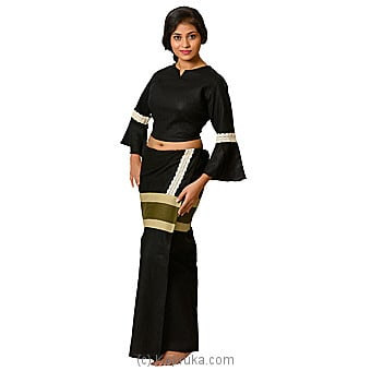 Linen Black Lace Lungi With Black Blouse Materiel Online at Kapruka | Product# clothing0587