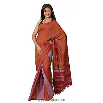 Orange, Pink And Light Purple Handloom Cotton Saree Online at Kapruka | Product# clothing0578
