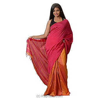 Pink And Orange Handloom Saree Online at Kapruka | Product# clothing0582