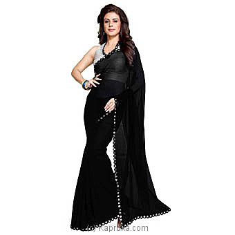 Solid Fashion Poly Georgette Black Saree Online at Kapruka | Product# clothing0596
