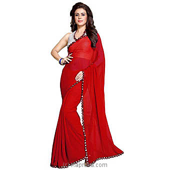 Solid Fashion Poly Georgette Red Saree Online at Kapruka | Product# clothing0597
