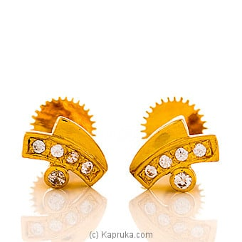 22 KT Y/G ear studded wih swarovski zirconia-es0000785 Online at Kapruka | Product# jewelleryS0242