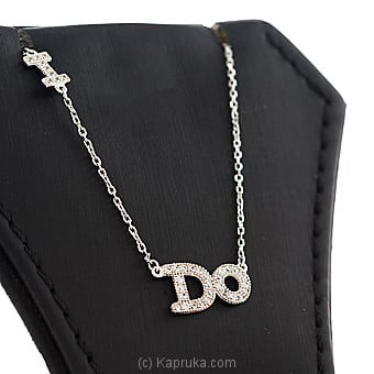 Stone Silver Letter Pendant With Necklace By Swarovski at Kapruka Online forspecialGifts