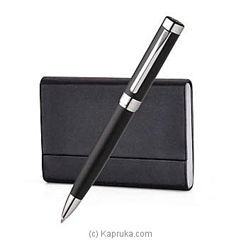 Pennline Hercules Matte Black Ballpoint Pen With Business Card Holder Gift Set Online at Kapruka | Product# giftset00170